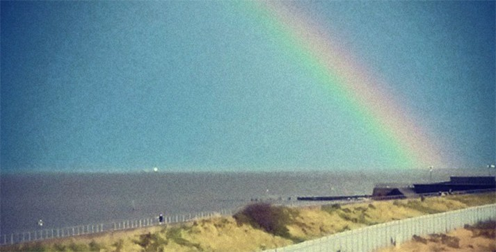 Rainbow over the Humber estuary, seen from Cleethorpes sea wall