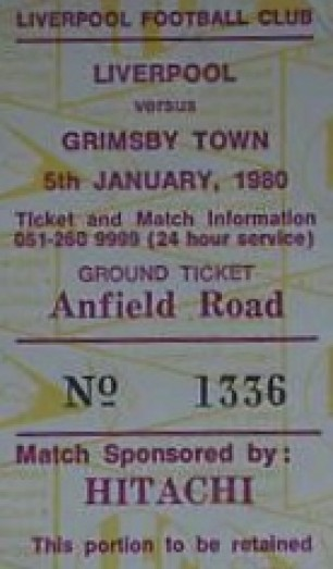 Liverpool v Grimsby ticket