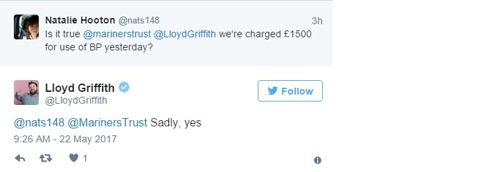 Tweet from Lloyd Griffith confirming that the Mariners Trust was charged £1500 to stage a charity match at Blundell Park